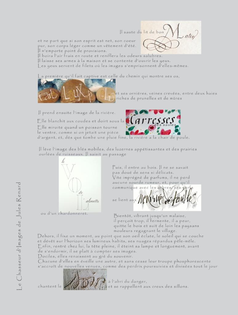 le chasseur d'image, texte de Jules Renard. Dans le texte typographié, certains mots ont été remplacé par un ou deux mots calligraphiés.