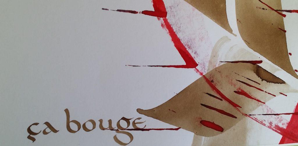 carnet calligraphie caroline et traces animées, brun et rouge